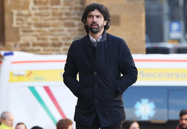 <p>Damiano Tommasi ahead of a funeral service for Davide Astori on March 8, 2018 in Florence, Italy. The Fiorentina captain and Italy international Davide Astori died suddenly in his sleep aged 31 on March 4th, 2018. (Photo by Gabriele Maltinti/Getty Images) </p>