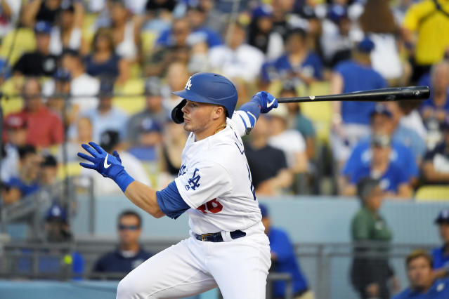 Los Angeles Dodgers' Gavin Lux watches his single during the second inning of a baseball game against the Colorado Rockies, Monday, Sept. 2, 2019, in Los Angeles. (AP Photo/Mark J. Terrill)