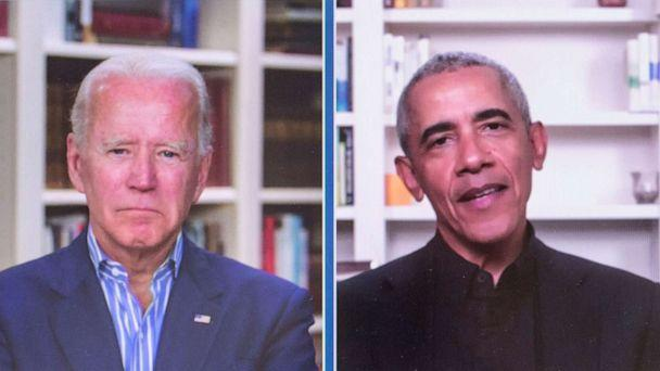 PHOTO: A screen grab of former Vice President Joe Biden and Former President Barack Obama at a grass roots fundraiser for the Biden 2020 presidential campaign, June 23, 2020, in Wilmington, Del. (Brian Cahn/ZUMA Press)