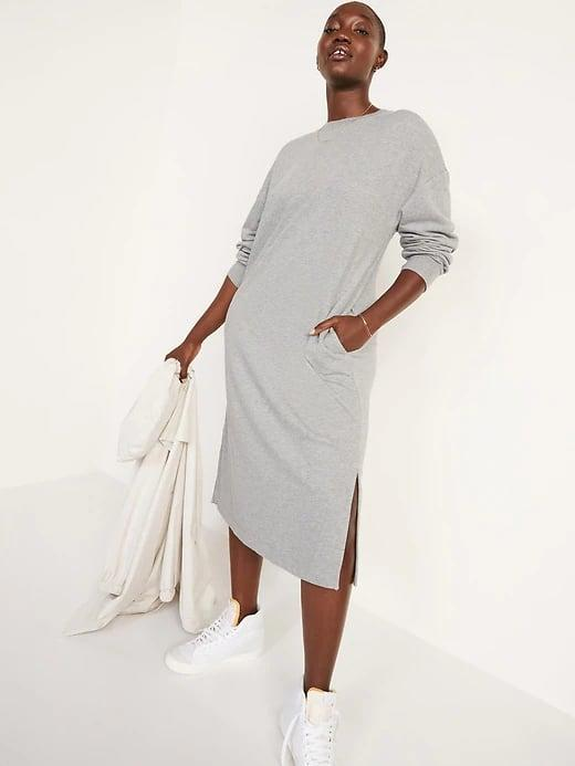 <p>Wear this cozy <span>Old Navy French-Terry Sweatshirt Midi Shift Dress</span> ($45) solo to lounge on weekends. Or slide on your favorite sneakers and head out the door.</p>