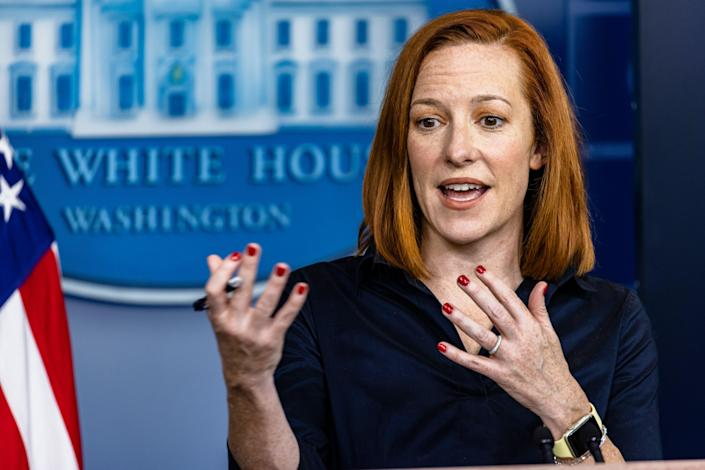 <p>White House scoffs at idea Trump deserves credit for vaccines saying half a million Americans died under his watch</p> (Photo by Samuel Corum/Getty Images)