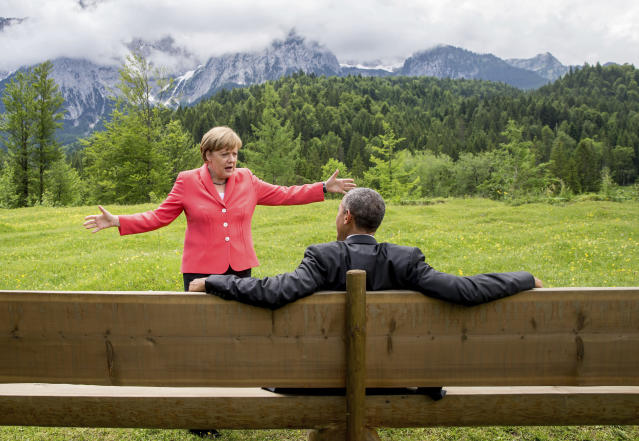 German Chancellor Angela Merkel speaks with President Barack Obama at the Schloss Elmau hotel near Garmisch-Partenkirchen, Germany, during the G-7 summit on June 8, 2015. (Photo: Michael Kappeler/Pool via AP)