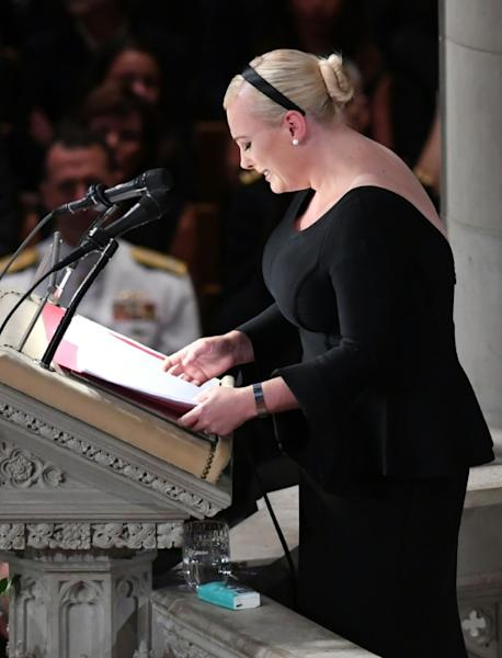 At the funeral, Meghan McCain delivered a tear-filled tribute to her father using the words of Donald Trump's campaign slogan as a withering rebuke of the president