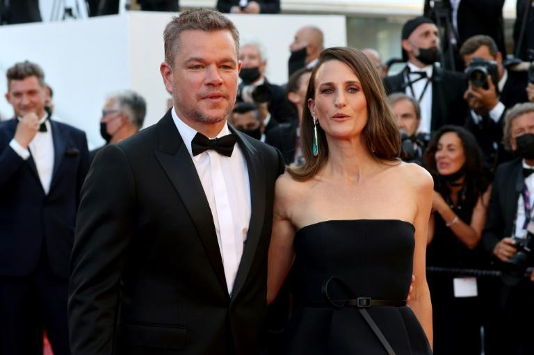 """Marseille's latest Hollywood fan: US actor Matt Damon (L) and his """"Stillwater"""" co-star Camille Cottin -- of """"Call My Agent"""" fame -- arrive at the premiere of the film at the Cannes film festival"""