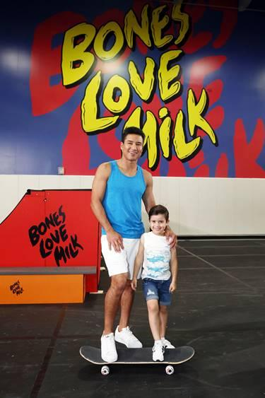 Mario Lopez and son, Nico, at the @BonesLoveMilk Shredquarters event hosted bythe California Milk Processor Board dedicated to celebrating skate and California street culture while showcasing the real benefits of milk as nature's energy drink, Wednesday, July 24, 2019, in Huntington Beach, Calif. (Photo by Matt Sayles/Invision for CMPB/AP Images)
