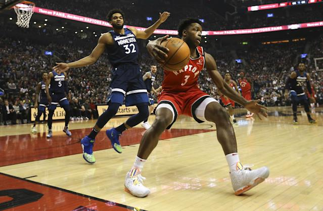 The Toronto Raptors defeated the Minnesota Timberwolves on Monday night and made history in the process. (Richard Lautens/Toronto Star via Getty Images)