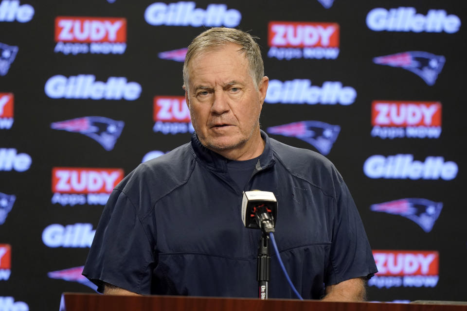 New England Patriots head coach Bill Belichick faces reporters before an NFL football practice, Wednesday, Oct. 13, 2021, in Foxborough, Mass. (AP Photo/Steven Senne)