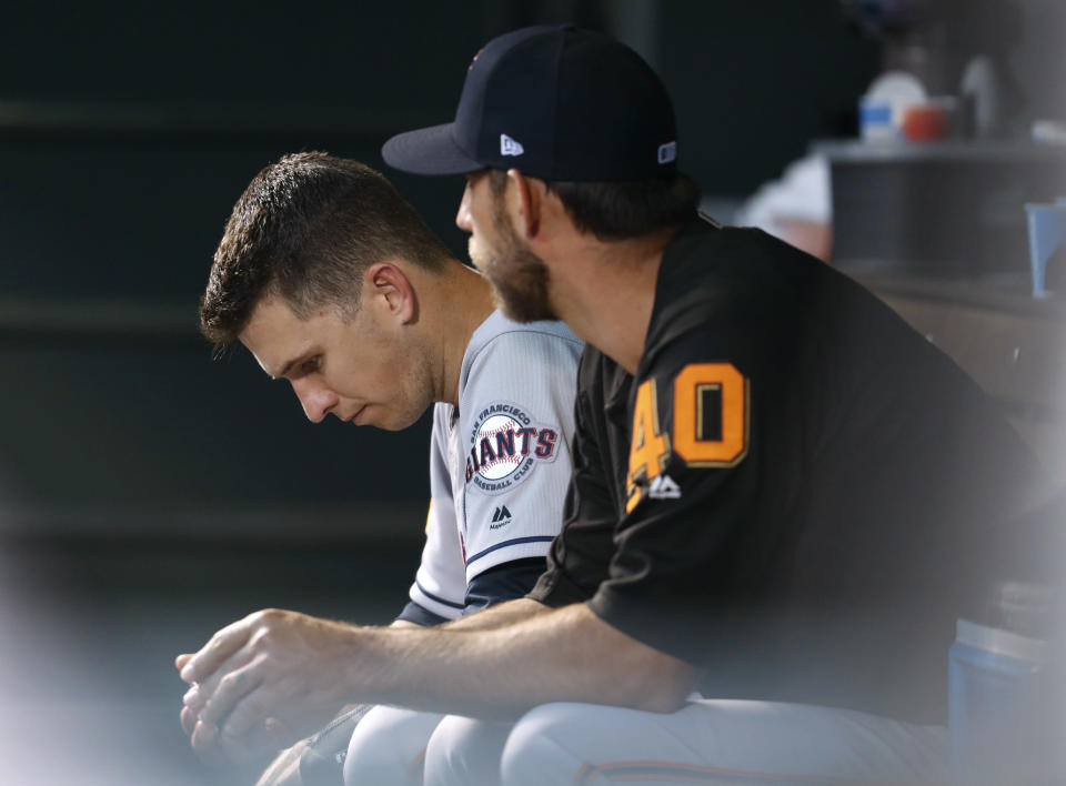 San Francisco Giants catcher Buster Posey is expected to have season-ending hip surgery. (AP)