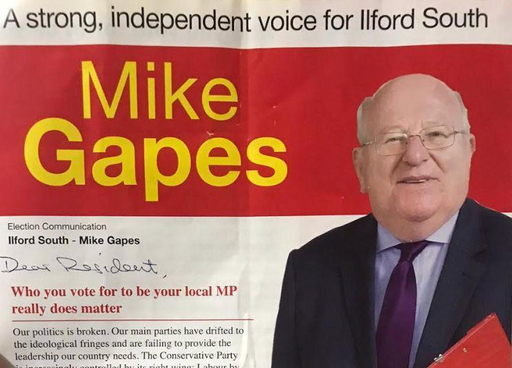 Mike Gapes' election leaflet (Photo: HuffPost UK)