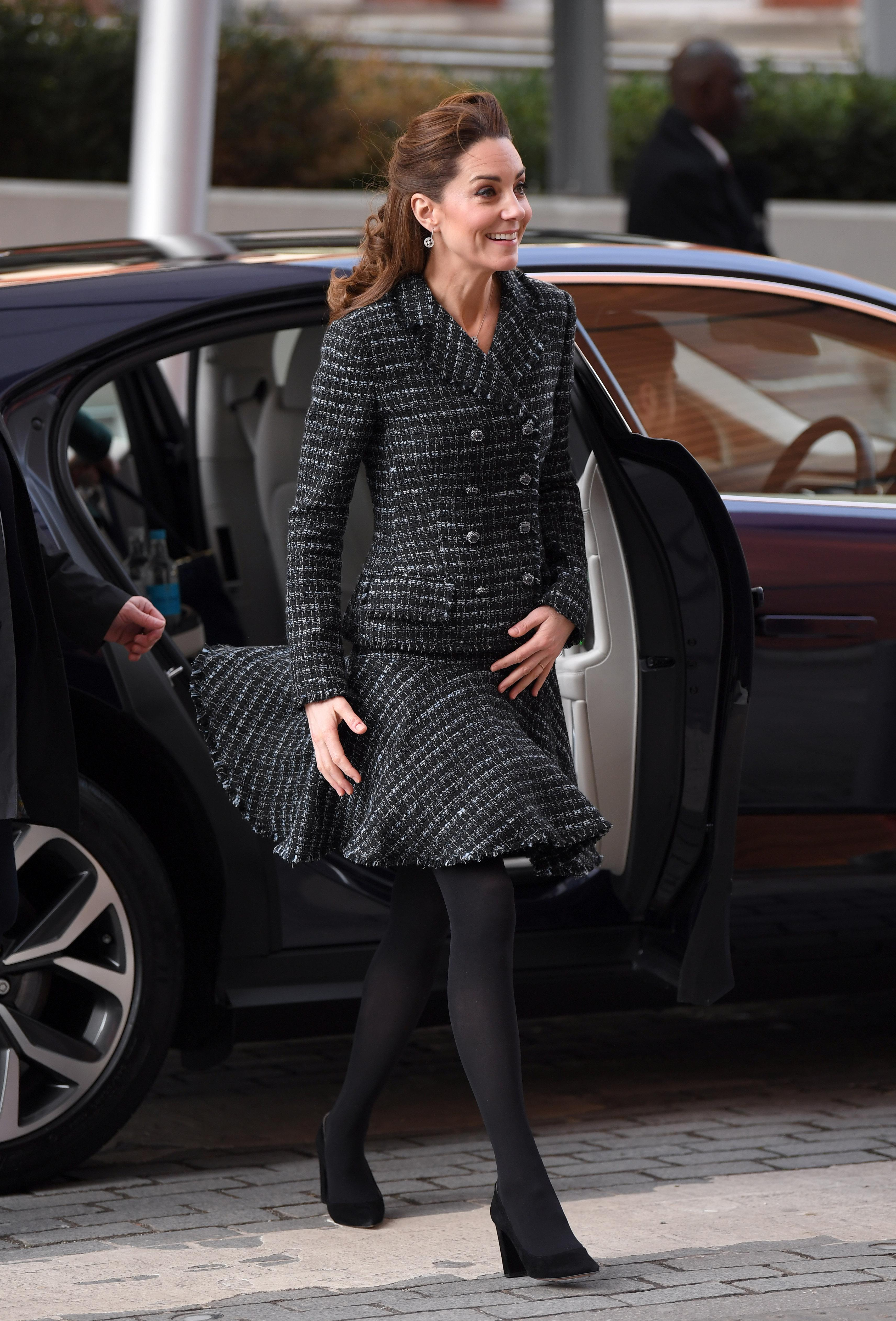 LONDON, ENGLAND - JANUARY 28: Catherine, Duchess of Cambridge joins a workshop run by the National Portrait Gallery's Hospital Programme at Evelina Children's Hospital on January 28, 2020 in London, England. HRH is Patron of Evelina London Children's Hospital and Patron of the National Portrait Gallery. (Photo by Karwai Tang/WireImage)