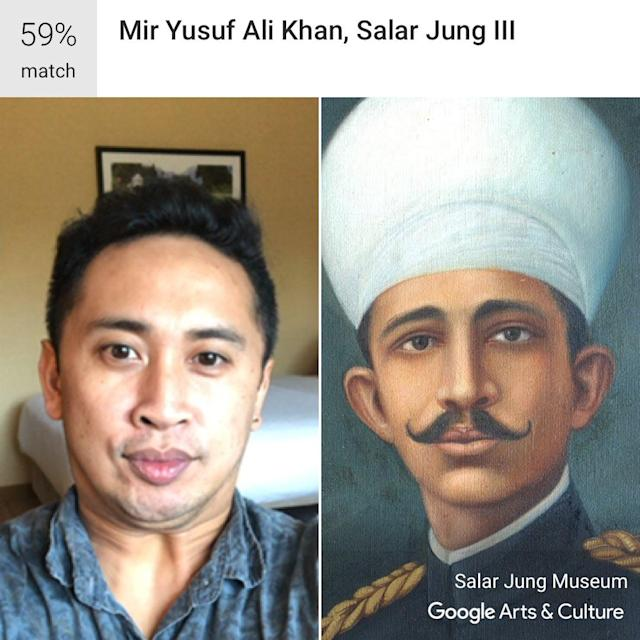 The article's author trying out Google Arts & Culture's new selfie feature, which went viral last weekend. Accurate or nah? Source: Yahoo Finance