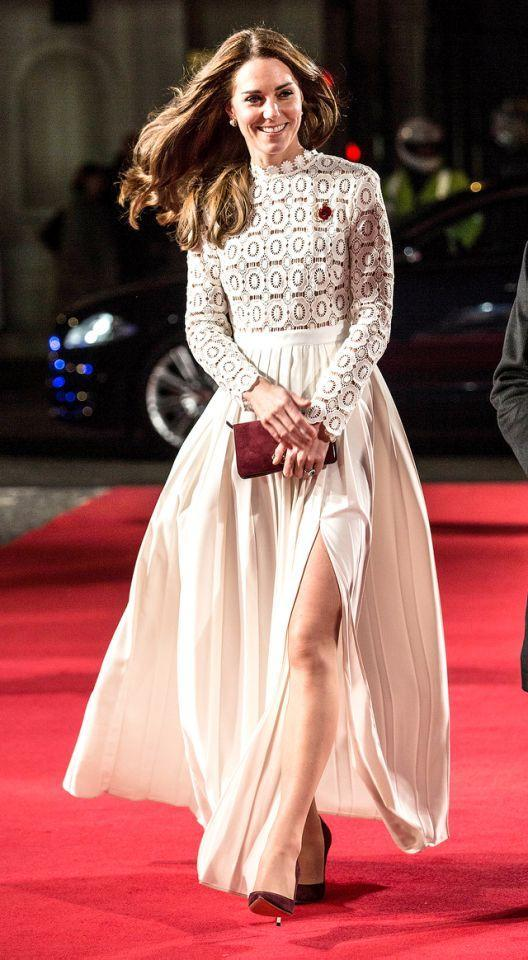 <p>Lastly, believe it or not, this is a daring slit for the duchess! The brunette boldly showed some skin when she attended the premiere for <em>A Street Cat Named Bob</em>, which was an event to support her Action on Addiction organization, in November 2016. No word on what the buttoned-up queen thought of her dress selection, but in our eyes Kate can do no wrong. (Photo: KGC-03/Star Max/IPx) </p>