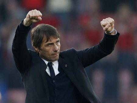 Britain Football Soccer - AFC Bournemouth v Chelsea - Premier League - Vitality Stadium - 8/4/17 Chelsea manager Antonio Conte celebrates after the match Action Images via Reuters / John Sibley Livepic