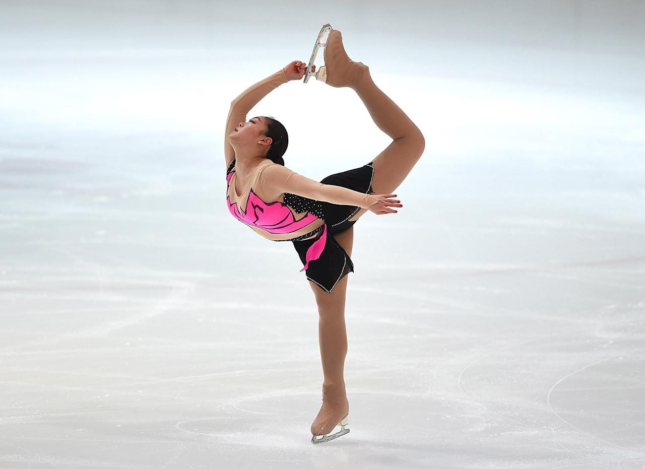<p>Joanna So of Hong Kong competes during the 2017 FBMA Trophy for Figure Skating competition at Zayed Sports City on Jan. 5, 2017, in Abu Dhabi, United Arab Emirates. (Photo: Tom Dulat/Getty Images) </p>