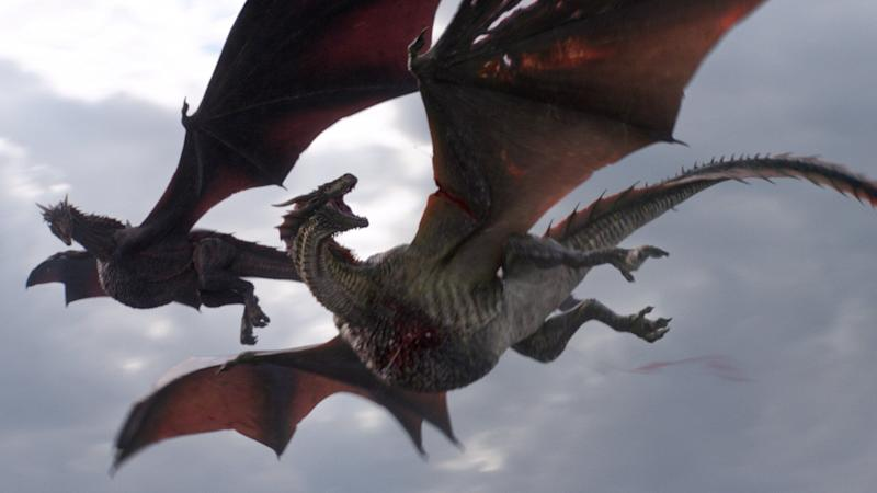 Rhaegal is pierced by multiple arrows fired by the Iron Fleet in 'Game of Thrones' (Photo: © 2019 Home Box Office, Inc.)
