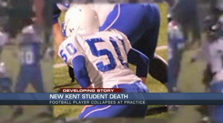 Jacob Vick collapsed and died after a Tuesday practice — WTVR screenshot