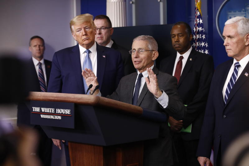 Director of the National Institute of Allergy and Infectious Diseases Dr. Anthony Fauci speaks during a coronavirus task force briefing at the White House, Saturday, March 21, 2020, in Washington. (AP Photo/Patrick Semansky)