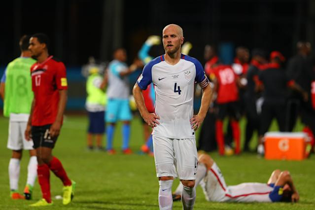 United States captain Michael Bradley reacts to the USMNT's loss in Trinidad, which knocked it out of World Cup contention. (Getty)