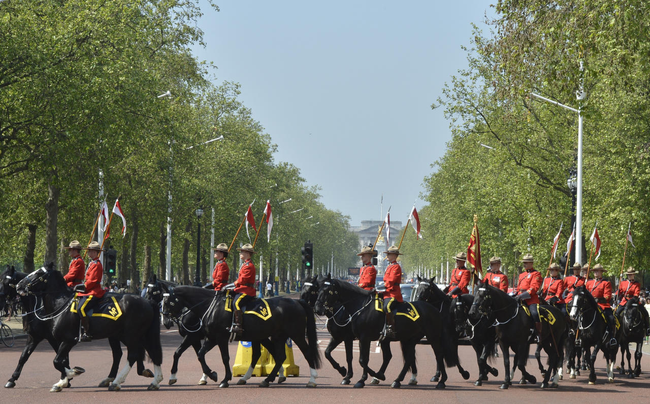 Canadian Mounties perform Changing of Guard in central London in build up to Diamond Jubilee Toby Melville / Reuters