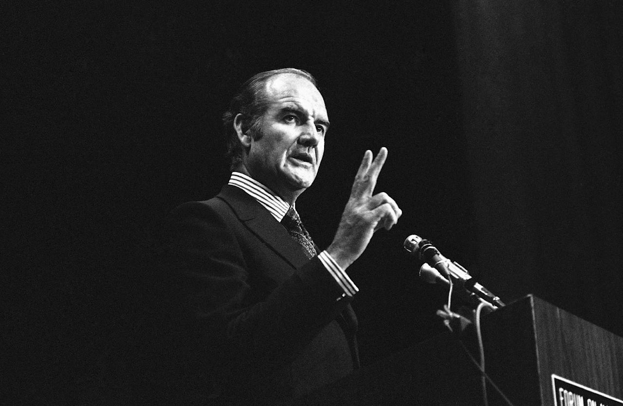 FILE - In this Jan. 25, 1971 file photo, U.S. Sen. George McGovern makes a speech at the University of the Pacific at Stockton, Calif. A family spokesman says, McGovern, the Democrat who lost to President Richard Nixon in 1972 in a historic landslide, has died at the age of 90. According to a spokesman, McGovern died Sunday, Oct. 21, 2012 at a hospice in Sioux Falls, surrounded by family and friends. (AP Photo/Walt Zeboski, File)