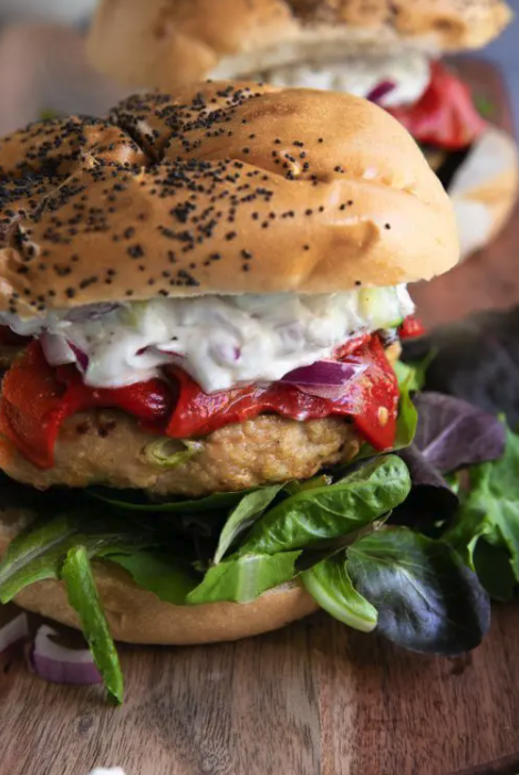 """<p>Meal prep these turkey burgers to eat with baked fries one night and chopped up in a salad or stuffed into lettuce cups the next.</p><p><a class=""""link rapid-noclick-resp"""" href=""""https://theforkedspoon.com/mediterranean-grilled-turkey-burgers/"""" rel=""""nofollow noopener"""" target=""""_blank"""" data-ylk=""""slk:GET THE RECIPE"""">GET THE RECIPE</a></p><p><em>Per serving: 404 calories, 8 g fat (3 g saturated), 909 mg sodium, 31 g carbs, 1 g fiber, 6 g sugar, 49 g protein</em></p>"""