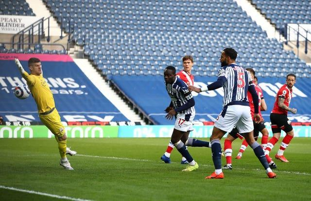 Mbaye Diagne, second left, thought he opened the scoring at the Hawthorns