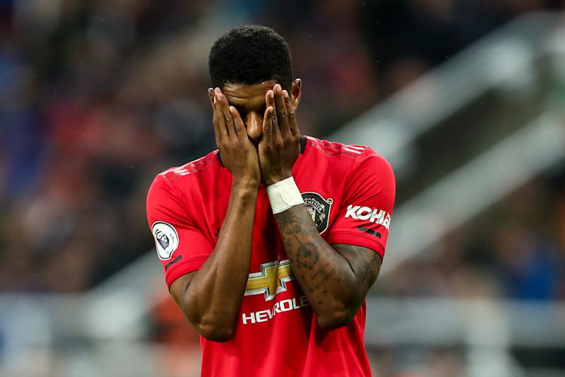 NEWCASTLE UPON TYNE, ENGLAND - OCTOBER 06: Marcus Rashford of Manchester United reacts during the Premier League match between Newcastle United and Manchester United at St. James Park on October 6, 2019 in Newcastle upon Tyne, United Kingdom. (Photo by Robbie Jay Barratt - AMA/Getty Images)