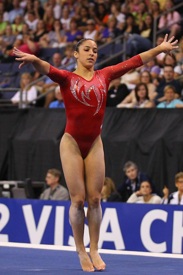 ST. LOUIS, MO - JUNE 8: Alexandra Raisman competes in the floor event during the Senior Women's competition on day two of the Visa Championships at Chaifetz Arena on June 8, 2012 in St. Louis, Missouri. (Photo by Dilip Vishwanat/Getty Images)