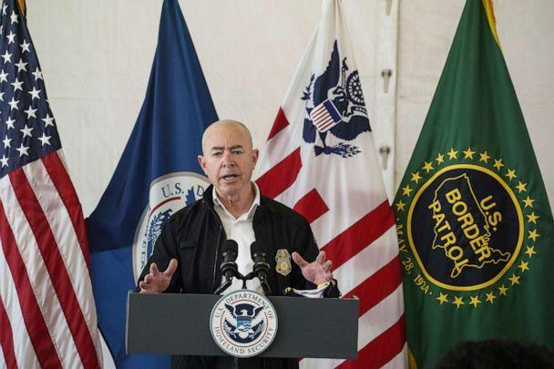 PHOTO: Department of Homeland Security Secretary Alejandro Mayorkas attends a press conference at a temporary Customs and Border Protection processing center on May 7, 2021, in Donna, Texas. (Go Nakamura/Getty Images)