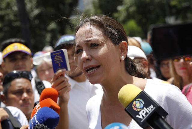 <p>Venezuelan opposition leader Maria Corina Machado makes declarations as the Constituent Assembly election was being carried out in Caracas, Venezuela, July 30, 2017. (Carlos Garcia Rawlins/Reuters) </p>