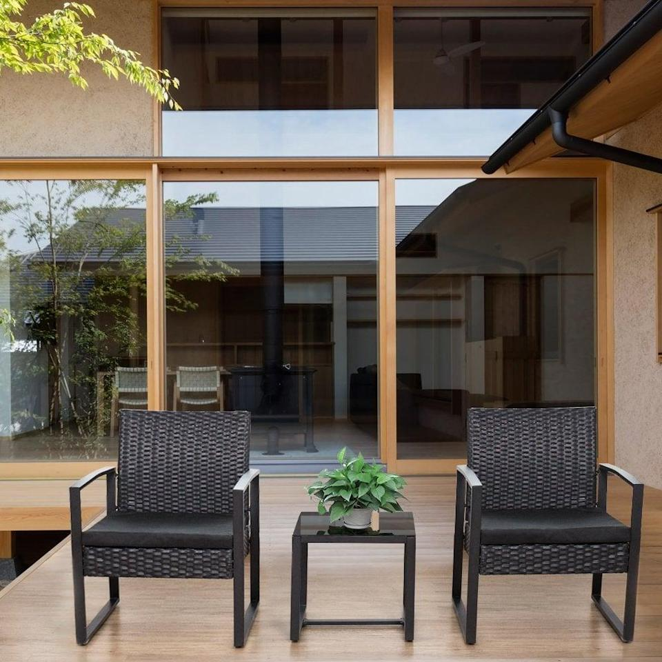 <p>This <span>Flamaker 3 Piece Patio Set</span> ($150) is so sleek and sophisticated, you'd never know it's so affordable.</p>