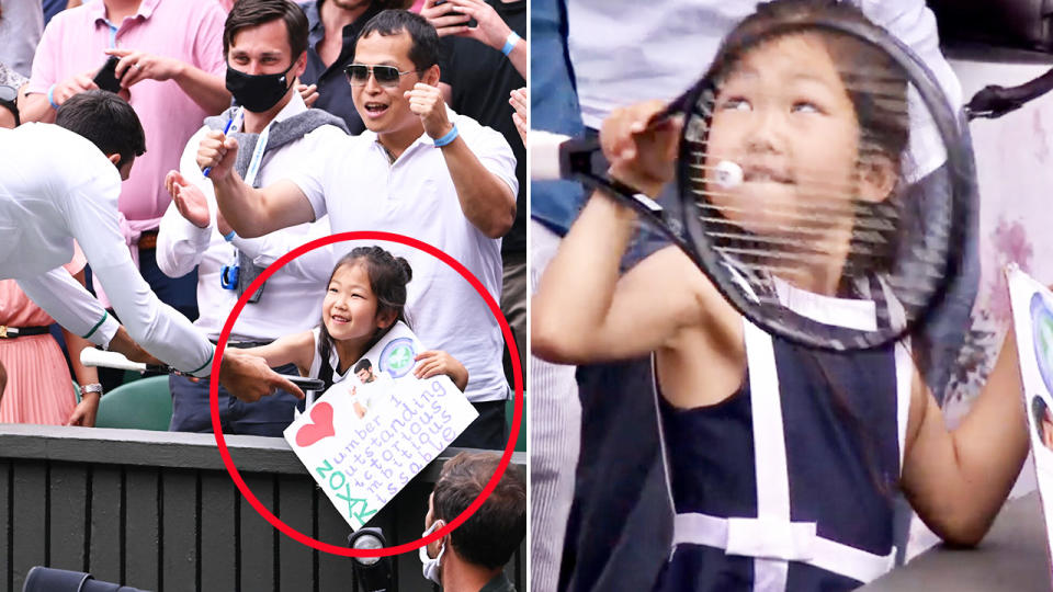 Novak Djokovic, pictured here gifting his racquet to a young fan.