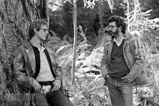 Harrison Ford, left, with George Lucas, is the picture of detached cool in this leafy Northern California location shot. Ford was on a career tear at the time, delivering two <em>Star Wars</em> films, two <em>Indiana Jones</em> movies, <em>Blade Runner</em>, and <em>Witness</em> by the midpoint of the 1980s.