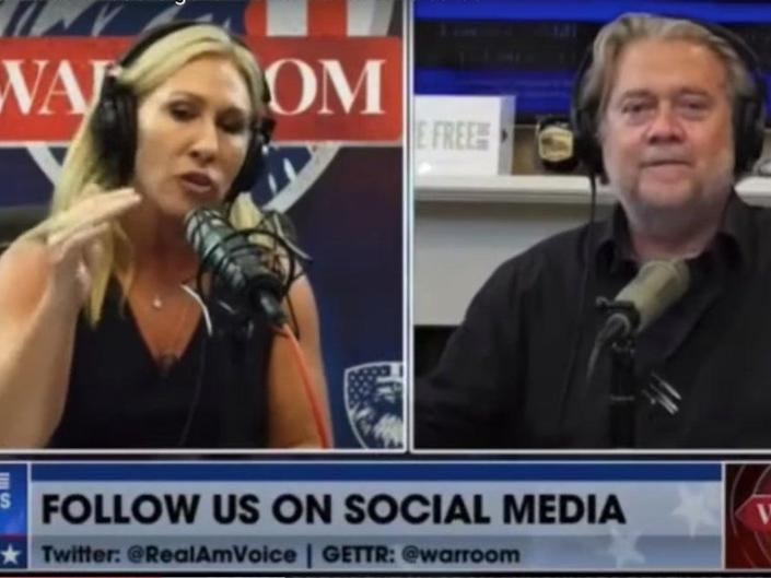 Rep. Marjorie Taylor Greene appears on Steve Bannon's War Room podcast (Raw Story / YouTube)