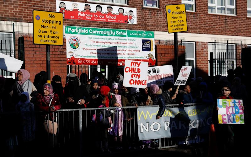 Parents and pupils protesting against the No Outsiders programme outside Parkfield Community School in Birmingham, March 2019 - DAILY TELEGRAPH