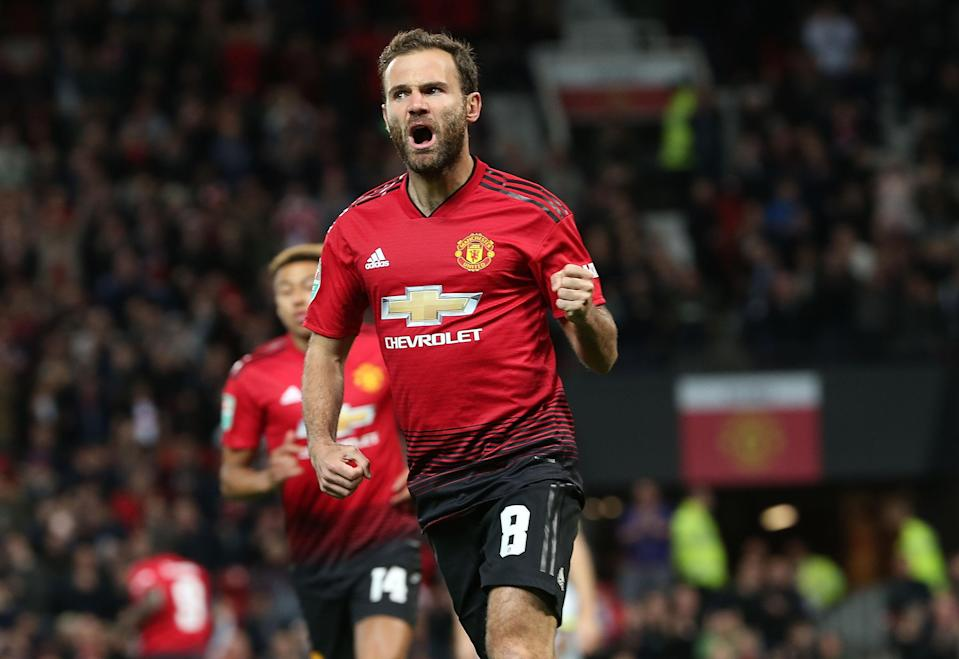 Juan Mata celebrates putting Man United into the lead in just the third minute