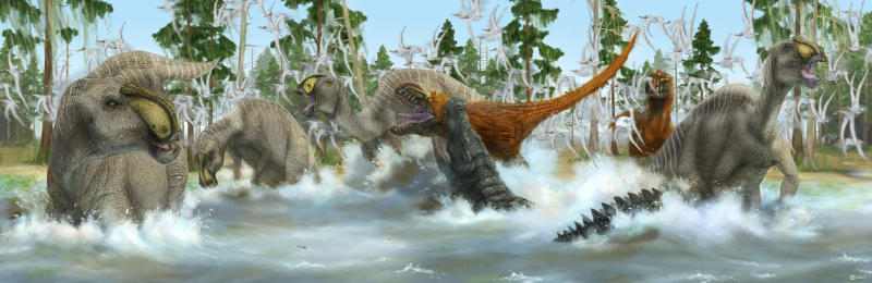 Deinosuchus rugosus and Bistahieversor sealeyi capitalize on the migration of Anasazisaurus horneri. Muzquizopteryx coahuilensis fly in the background. New Mexico, Late Cretaceous/Campanian.
