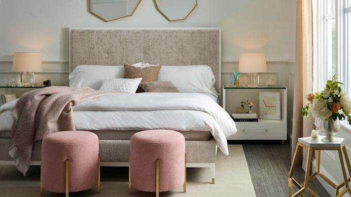 Love.Joy.Bliss by Miranda Kerr Home features plush pieces, gilded finishes, geometric shapes, and soft tones.