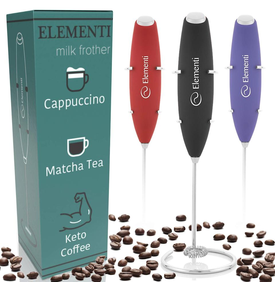 """<h3><a href=""""https://amzn.to/2WYDN98"""" rel=""""nofollow noopener"""" target=""""_blank"""" data-ylk=""""slk:Elementi Milk Frother"""" class=""""link rapid-noclick-resp"""">Elementi Milk Frother</a><br></h3><br><strong>Mary</strong><br><br><strong>How She Discovered It:</strong> """"Through an <a href=""""https://www.refinery29.com/en-us/gifts-for-mom-who-has-everything#slide-11"""" rel=""""nofollow noopener"""" target=""""_blank"""" data-ylk=""""slk:R29 Mother's Day gift guide"""" class=""""link rapid-noclick-resp"""">R29 Mother's Day gift guide</a> when I was searching for something to get my mom...I got it for myself."""" <br><br><strong>Why It's A Hidden Gem:</strong> """"Not being able to go to my favorite coffee shop (I know a minor inconvenience compared to everything else that's going on) has totally messed up my morning mojo. I really don't love regular coffee and have always been a latte girl, which is where this boy comes in. It has single-handedly saved my morning workflow — because now POOF I can whip up homemade lattes with the same ease of my fave barista Keri (<em>hope you're well girl</em>).""""<br><br><strong>Elementi</strong> Milk Frother, $, available at"""