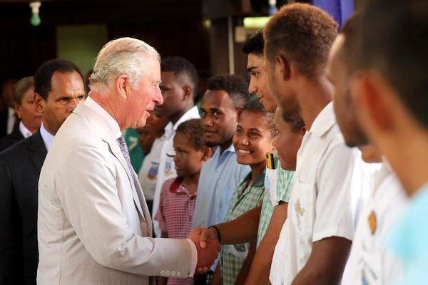Charles, on his first visit to the Islands, made reference to other members of the royal family and spoke about the environment. (PA)