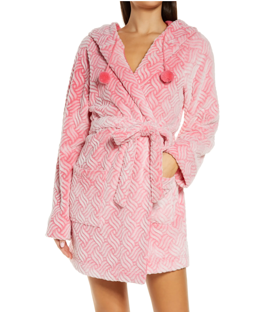 """<h3><h2>Honeydew Intimates Hooded Fleece Short Robe</h2></h3><br>This playful and happy short options features a cozy hood and sweet pompom drawstrings. <br><br><br><strong>Honeydew Intimates</strong> Winter Night Hooded Fleece Short Robe, $, available at <a href=""""https://go.skimresources.com/?id=30283X879131&url=https%3A%2F%2Fwww.nordstrom.com%2Fs%2Fhoneydew-intimates-winter-night-hooded-fleece-short-robe%2F5777999"""" rel=""""nofollow noopener"""" target=""""_blank"""" data-ylk=""""slk:Nordstrom"""" class=""""link rapid-noclick-resp"""">Nordstrom</a>"""