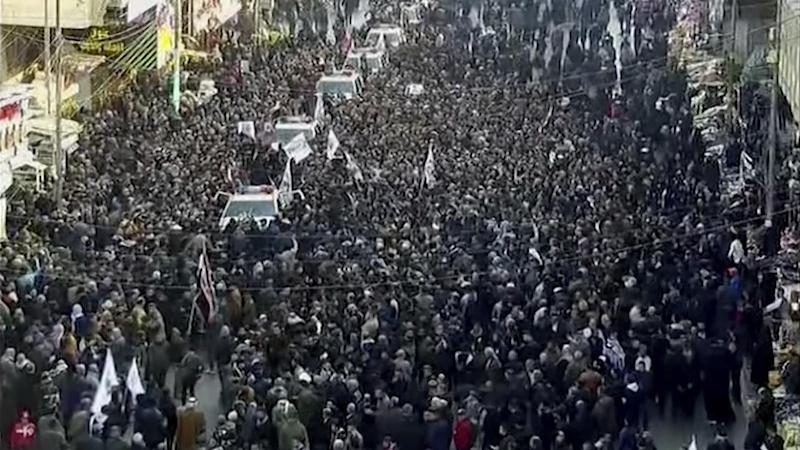 Mourners have gathered in Baghdad for a funeral procession for Iran's General Qassem Soleimani