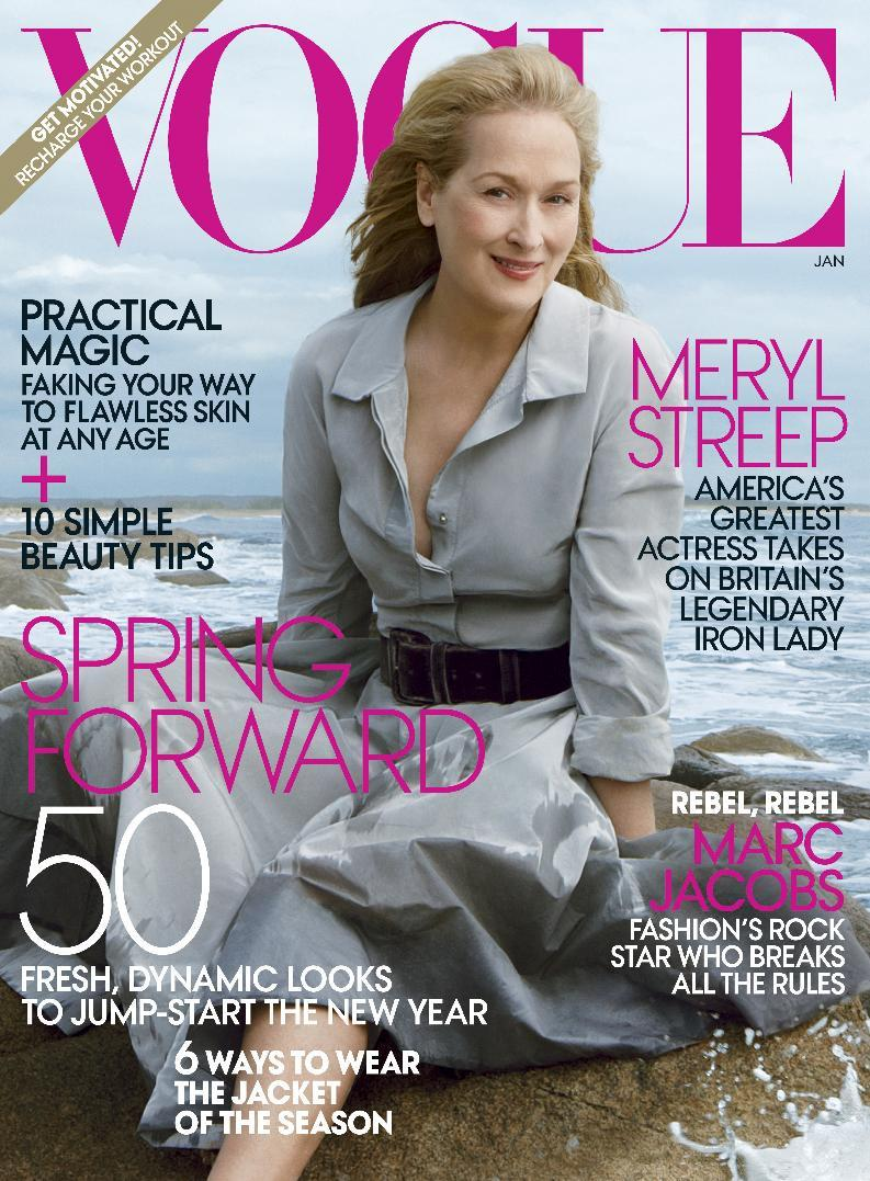 "In this cover image released by Vogue, actress Meryl Streep, star of the film ""The Iron Lady,"" is shown on the cover of the January 2012 issue of ""Vogue."" (AP Photo/Vogue)"