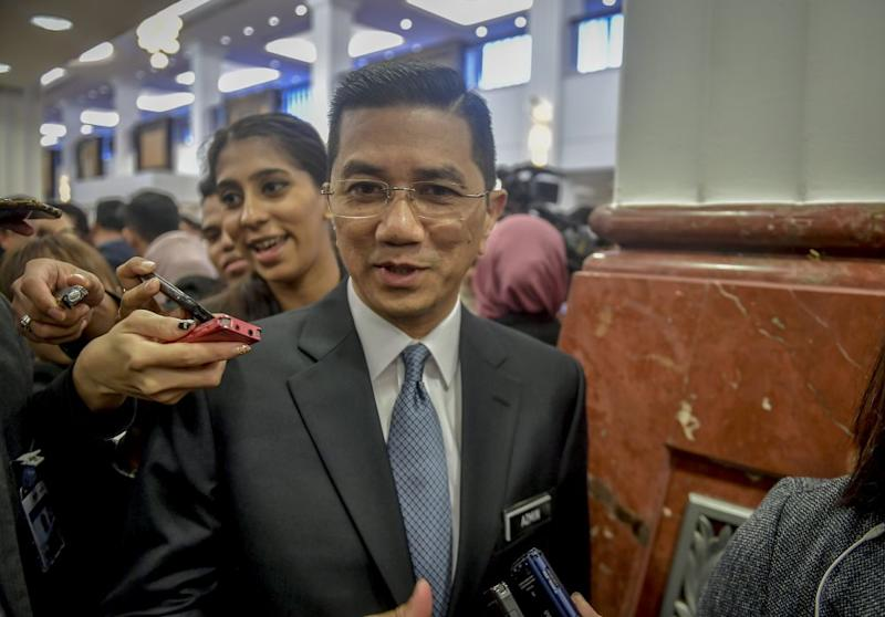 Economic Affairs Minister Datuk Seri Mohamed Azmin Ali speaks to reporters at Parliament in Kuala Lumpur March 12, 2019. ― Picture by Firdaus Latif