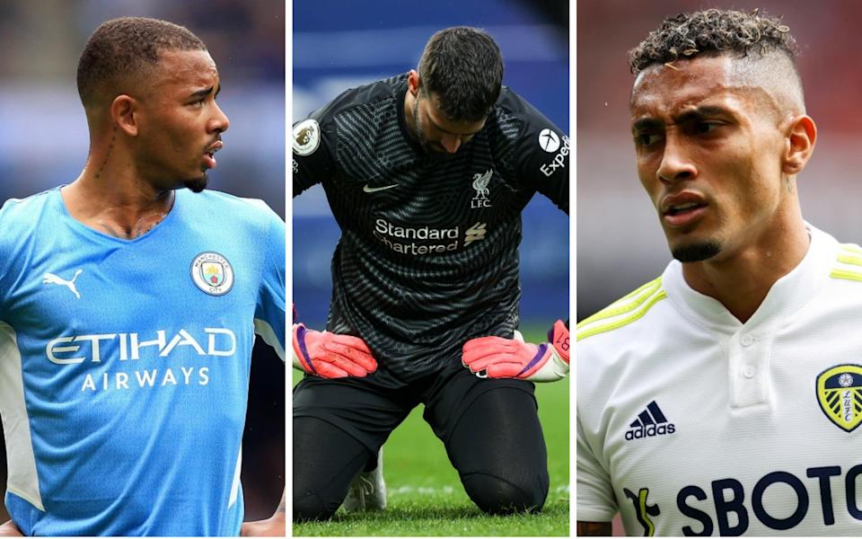 Gabriel Jesus (left to right), Alisson Becker and Raphinha - Premier League at loggerheads with Fifa as Brazil invoke ban on its internationals playing this weekend - GETTY IMAGES