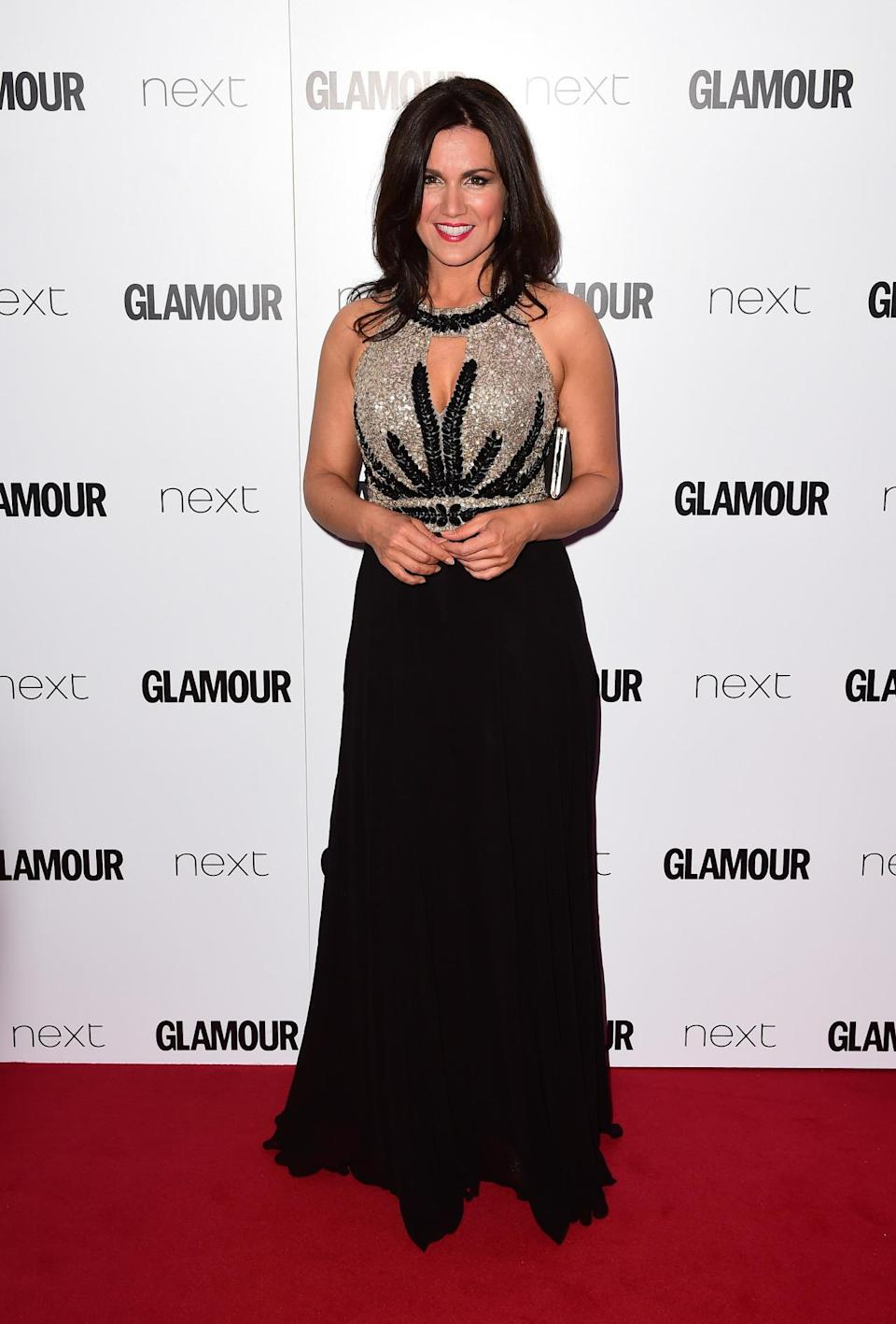 <p>The TV presenter dazzled in an embellished top and black floor-sweeping skirt. <i>[Photo: PA Images]</i></p>