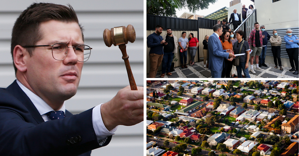 An auctioneer holds the hammer in midst of an action, potential buys stand around at an auction and the aerial view of an Australian suburb.