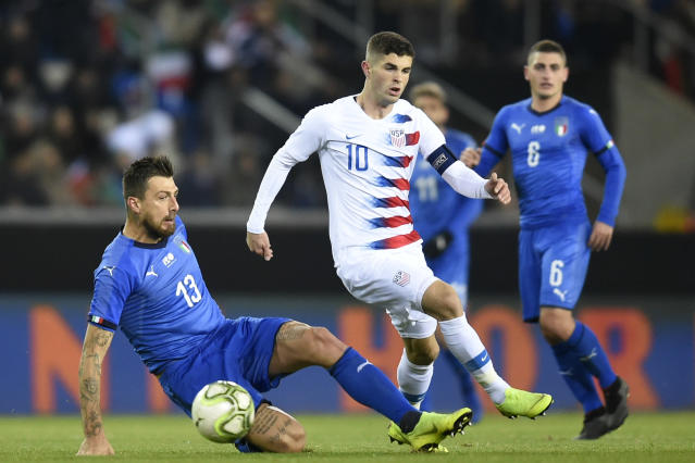 "<a class=""link rapid-noclick-resp"" href=""/soccer/players/613659/"" data-ylk=""slk:Christian Pulisic"">Christian Pulisic</a>, 20, became the youngest captain in USMNT history in Tuesday's year-ending 1-0 loss to Italy. (John Thys/AFP/Getty)"