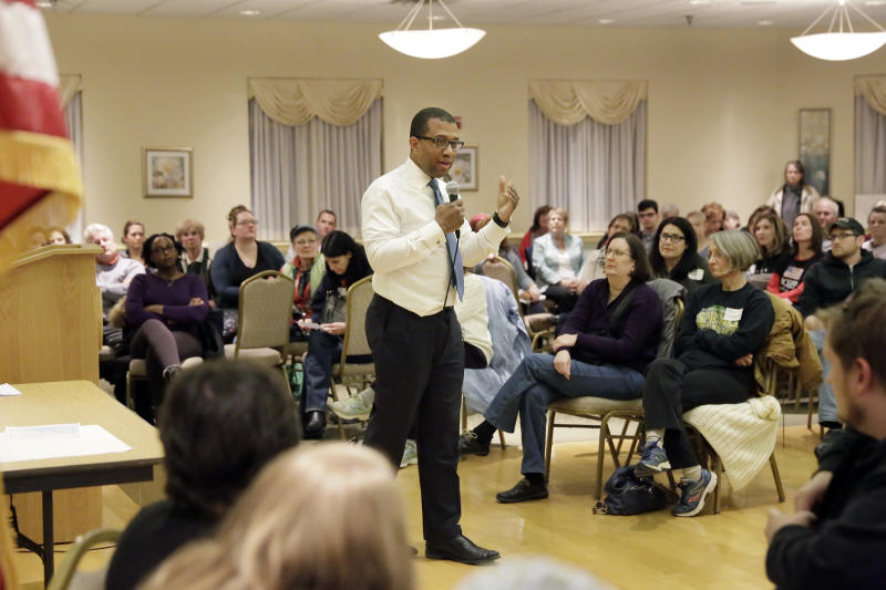 In this March 23, 2017 photo, Jim Johnson talks about his life and goals for New Jersey during a meeting in Collingswood, N.J. Johnson, a Democratic gubernatorial candidate wants state election officials to punish the race's wealthy Democratic front-runner over political groups he set up before officially entering the race. Johnson, a former treasury official in President Bill Clinton's administration, requested Thursday, March 30 that the Election Law Enforcement Commission investigate Phil Murphy, a former U.S. ambassador to Germany in President Barack Obama's administration. (Elizabeth Robertson/The Philadelphia Inquirer via AP)