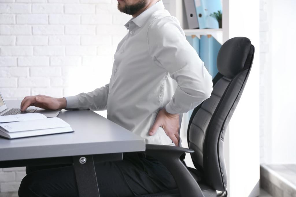 """""""We know that maintaining an aligned posture and that strengthening core abdominal muscles can work wonders on evening the stress on the book, relieving pain and preventing future occurrences,"""" says <strong><a href=""""http://www.infospine.net/"""" target=""""_blank"""">Neel Anand</a></strong>, MD, professor of orthopedic surgery and director of spine trauma at Cedars-Sinai Spine Center. Therefore, if you want to alleviate back pain and improve your posture, he suggests doing more ab exercises at the gym and focusing on better posture while you sit at your desk at work."""